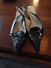 Mui Mui Size 4 Kitten Heel Sling Back Used Black Shoes