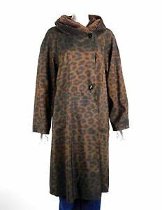 Mycra Pac Tea Length Donatella Raincoat Leopard Reversible Hooded 1-S/M New