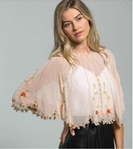 ECHO sequin beaded scalloped edge floral women's capelet shawl-Pink/Blush - OS