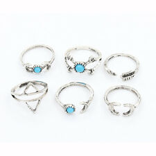 Set 6pcs Vintage Gypsy Boho Dance Tribal Above Knuckle Stack Band Midi Ring