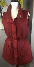 Daisy Women's Quilted Vest With Zipper And Pockets Deep Red Size M