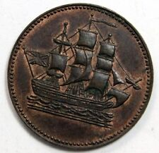 1814 (Circa) SHIP COLONIES & COMMERCE 1/2 P Token, Lees-27 BN, Doug Robins Coll.
