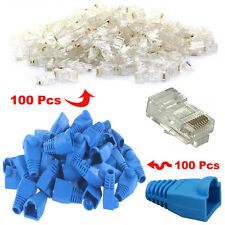 100x RJ45 Cat5 Cat5e Snagless Cover Boot + 100x End Plug Connector network Cable