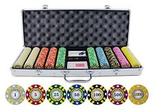 JP Commerce Stripe Suited V2 Clay Poker 500 pc Chips Set Holdem Dealer Button