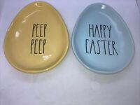 New Rae Dunn Egg Shaped Plates Happy Easter,Peep Peep,