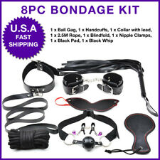 8 Pieces Bondage set kit Restraint system sexy bed toys handcuffs, rope, muzzle