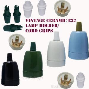 Retro Edison E27 Vintage Porcelain Ceramic Light Lamp Holder/Cord grip colours