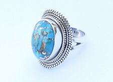 Blue Copper Turquoise Stone Ring 925 Solid Sterling Silver Size S T U V W X Y Z