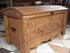 Wooden Blanket Box Coffee Table Trunk Vintage Chest Wooden Ottoman Toy Box (MON2