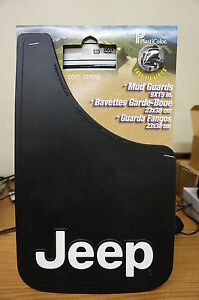 """COMPLETE SET JEEP MUD GUARDS WITH BOLD LOGO HEAVY DUTY EASY INSTALL 9""""X15"""""""
