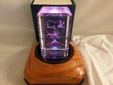 Gus Khrustalny Russian Lead Crystal Cube 3D Paperweight Etched - Cute Love 109CR