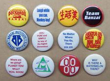 """Buckaroo Banzai 12 Button Set Logos, Quotes, HK Cavaliers, Yoyodyne, ++ 1.25"""""""