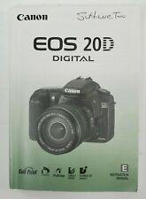 Canon EOS 20D Camera Instruction Book Manual User Guide