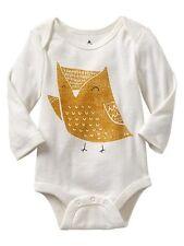 New Baby Gap Gold Owl Bodysuit Top Size 18-24m NWT Pretty Bird Graphic Tee