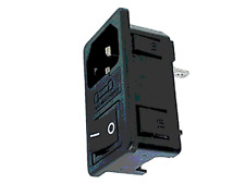 Fiche Secteur 3 Broche Mâle CHASSIS avec Porte Fusible + Interrupteur CLIPSABLE