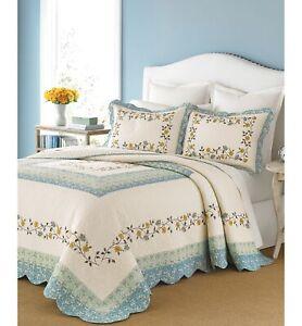 Martha Stewart KING Bedspread Cotton Prairie House Floral SKY BLUE 155