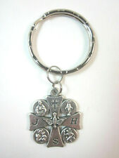 "Five-Way JHS Cross Medal 1 1/8"" Italy Key Ring"