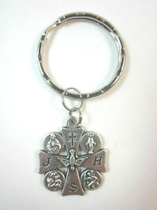 """Five-Way JHS Cross Medal 1 1/8"""" Italy Key Ring"""