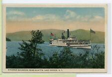 Vintage Postcard ~ Lake George Ny ~ Steamer Sagamore Near Huletts ~ Adirondacks