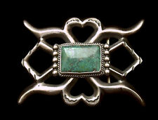 Sterling Silver Sandcast Buckle with Rectangular Turquoise - Navajo Handmade