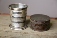Antique Victorian Sterling Silver Collapsible Travel Cup with tin Case VERY OLD