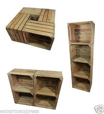 4 vintage strong & solid wooden apple crates boxes home decor