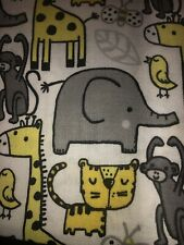 Yellow And Grey Zoo Animals Fabric Scrap Quilt Sew