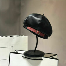 Women Beret Faux Leather PU Cap Beanie Hat Vintage Military Soldier Fashion New