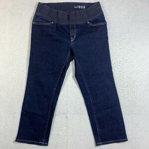 Gap Maternity Jean Womens 30/10 Real Straight Pull Up Blue Dark Rinse Denim Baby