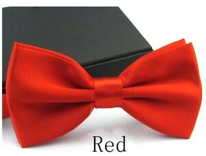 New Tuxedo Red Bow Tie Satin Adjustable Band Bowtie  US SELLER