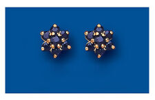 Sapphire Earrings Sapphire Cluster Studs Natural Sapphire Studs Yellow Gold Stud