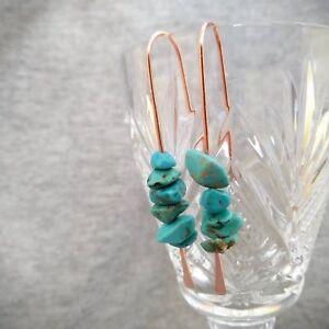 Turquoise earrings, drop earrings, bohemian style earrings, long copper earrings