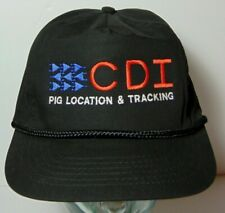 Vintage 1990s CDI PIG LOCATION & TRACKING FARM SNAPBACK ADJUSTABLE ROPE HAT CAP