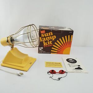 Vintage Sears Sun Lamp Kit 275 Watt With Eye Goggles Original Box & Manual 1984