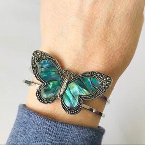 Butterfly Abalone Cuff Bangle Bracelet Silver Tone