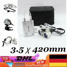 3.5X420mm Dental Brillenlupe Kopflupe Lupenbrille Loupe+LED Head light Silber DE