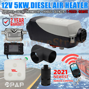 PPAP™ 12V 5KW Diesel Air Heater Tank Digital Thermostat Silencer T-Piece Remote
