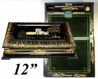 Fine 19th C. Papier Mache Writing Box, Slope, HP & MO Pearl Inlay Decoration