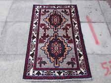 Old Traditional Hand Made Afghan Baluch Oriental White Wool Rug Carpet 136x87cm