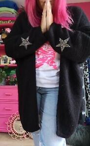 COSY OVERSIZED BLACK Mohair blend knit Boyfriend Slouchy Star Cardi Onesize10-22