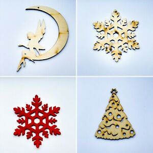 Wooden Christmas Tree Decorations Craft Hanging Bauble Snowflakes Cup Coasters