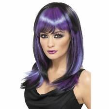 Femme Long Violet Glamour Perruque Sorcière Déguisement Halloween