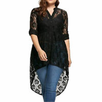 Plus Size Women Ladies See-through Lace Blouse Causal Long Sleeve Button Shirt