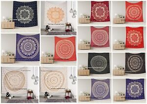 5 PC Wholesale Lot Indian Gold Mandala Wall Hanging King Size Tapestry Bedspread