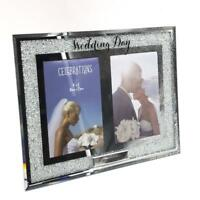 Personalised Wedding Day Double Crystal Border 4 x 6 Photo Frame Gift WG91346D-P