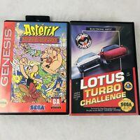 Sega Genesis Game Bundle Asterix Great Rescue and Lotus Turbo Challenge w/ Cases