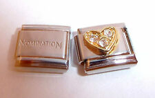 GOLD HEART CLEAR GEMS 9mm Italian Charm +1x GENUINE Nomination Classic Link LOVE