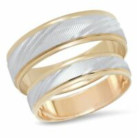 His & Hers 14K Multi Two Tone Gold Wedding Band Engagement Ring Matching Set Duo