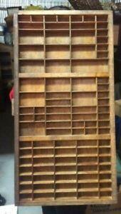 Vintage Hamilton Oak Printers Letterpress Typeset Tray Drawer, Shadowbox