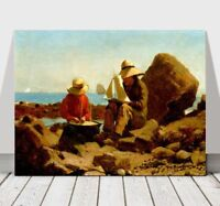 WINSLOW HOMER - The Boat Builders- CANVAS ART PRINT POSTER - Children - 24x18""